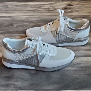 Michael Kors white and gray tennis shoes
